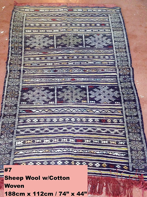 Navy Blue Handmade Sheep Wool w/Cotton Carpet/Textile
