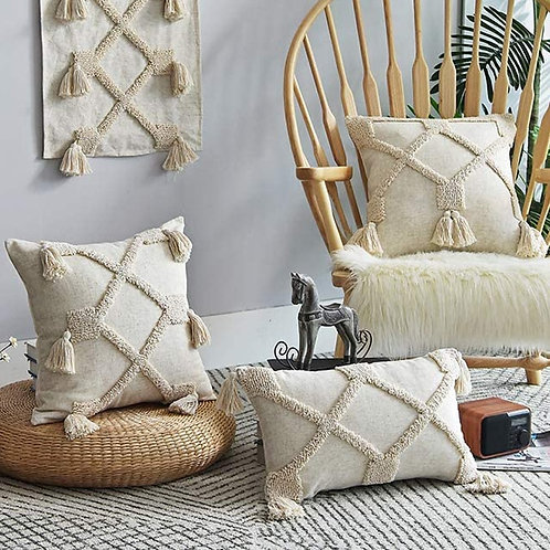 Linen Cushion Cover 45x45cm/30x50cm Pillow Cover with Tassels