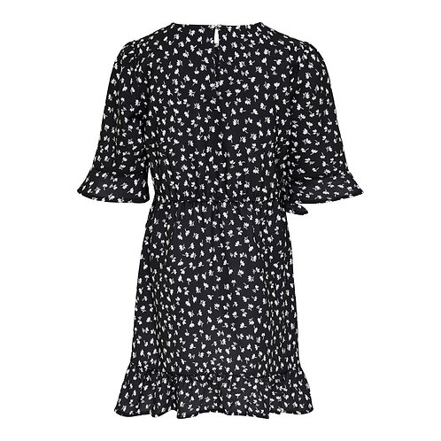 jurk zwart met bloemetje | Kids Only