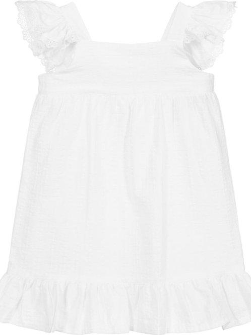 Wit jurkje van katoen en kant | Babidu