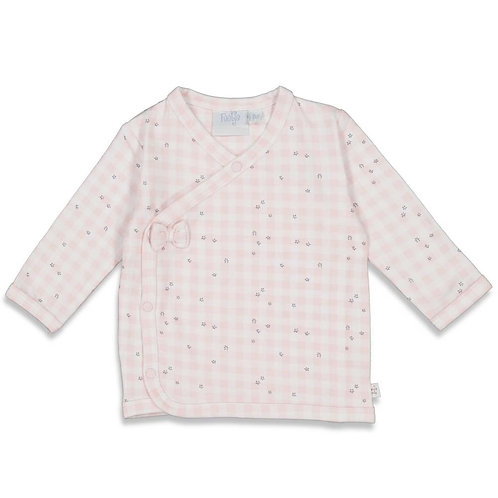 Overslag shirt roze ruitje   Feetje