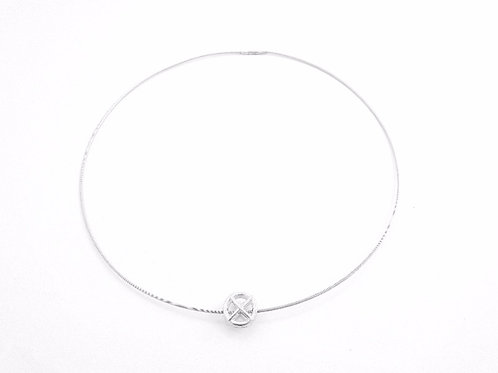 Silver Double sided Kiss Hug on cable