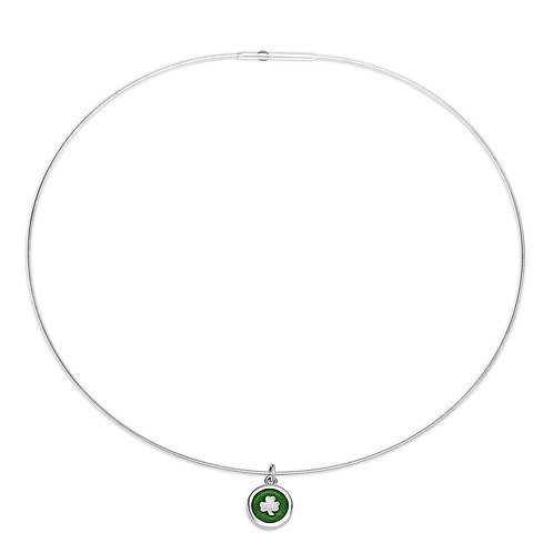 Enamelled mid-green silver shamrock charm on silver cable