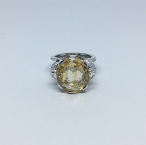 Face on Citrine cocktail ring from Leila Collection