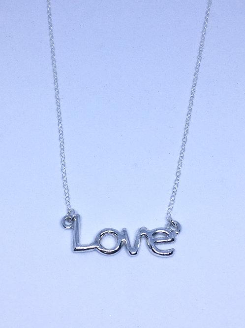Silver Love pendant on trace chain