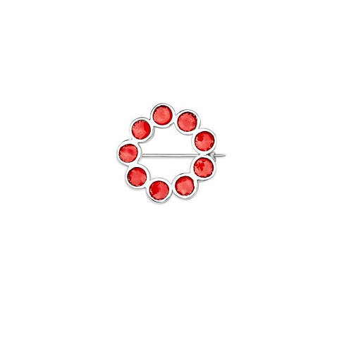 Enamelled silver Encircled brooch in opaque red vitreous enamel