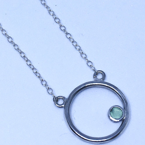 Silver Encircled pendant with peppermint green dot