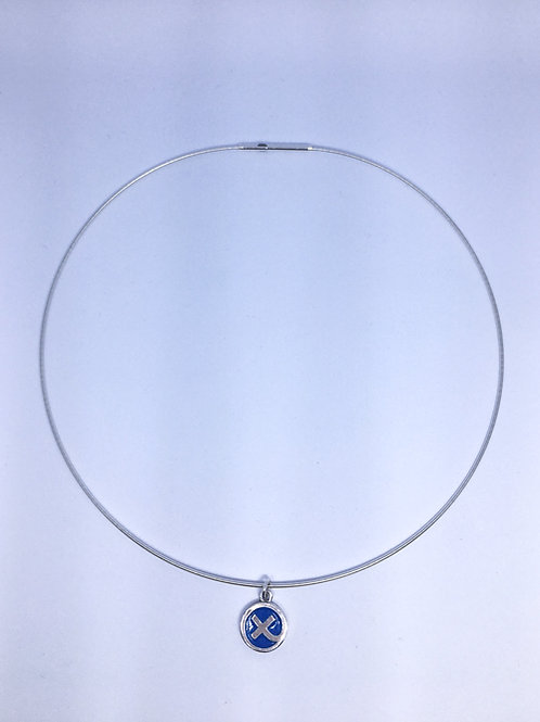 Silver & Aqua blue enamel Kiss in a Hug charm on cable