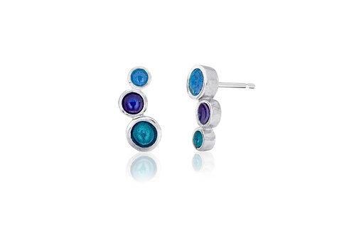 Triple dot enamel studs in three blues