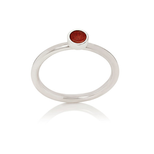 Enamelled silver dot stacking ring in terracotta