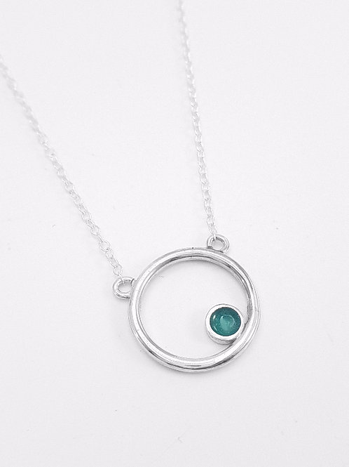 Silver Encircled pendant in transparent light turquoise