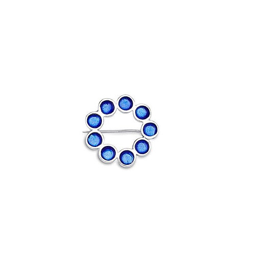 Enamelled silver Encircled brooch in transparent sapphire blue enamel