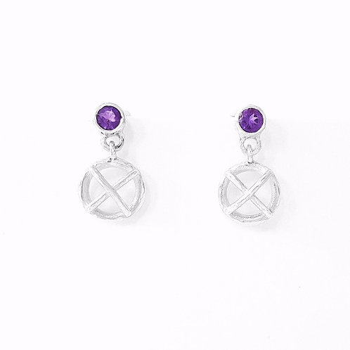 Silver and amethyst drop Kiss hug earrings