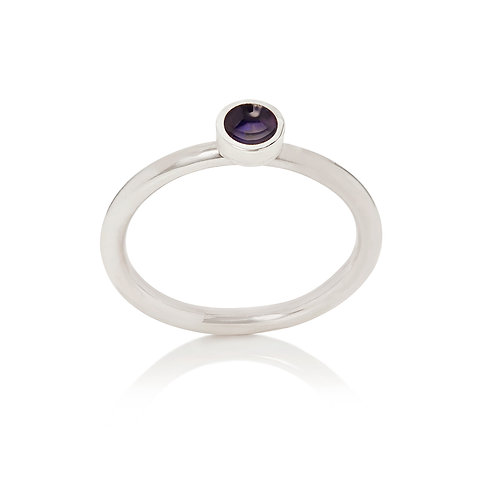 Enamelled silver dot stacking ring in sapphire blue