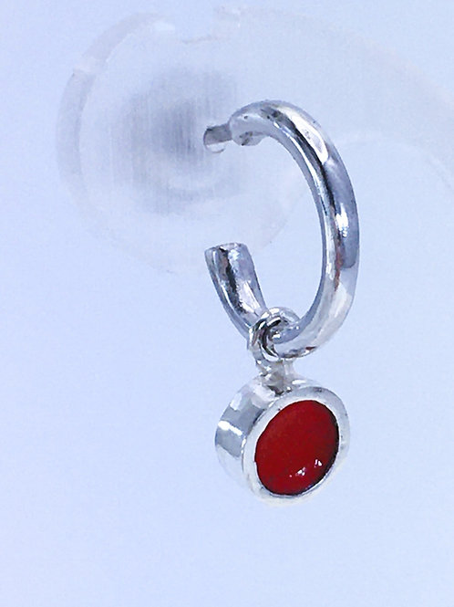 Silver & red enamel dot interchangeable earring charms