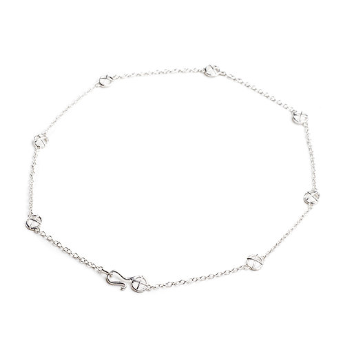 Small silver Kiss Hugs scattered necklace