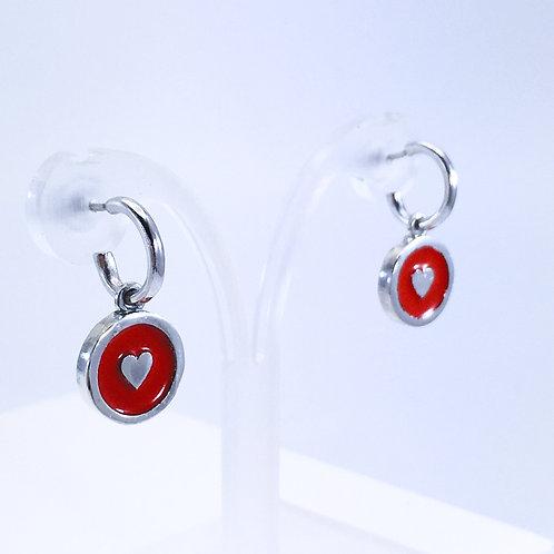 Enamelled Red heart earring charms on huggi hoops angled