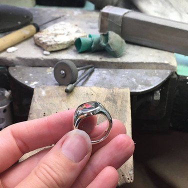9ct White gold signet ring cast from a wax