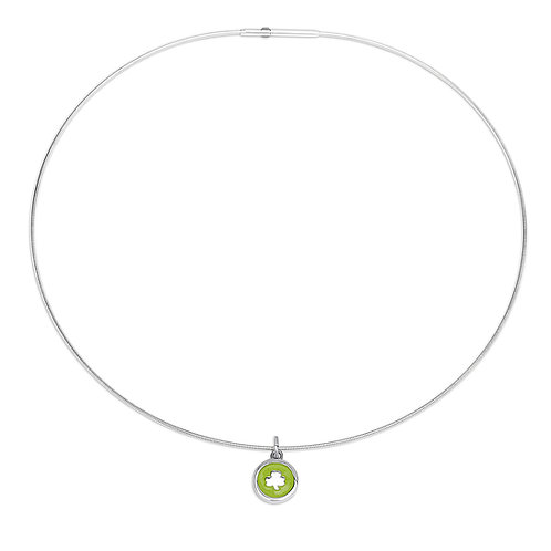 Enamelled lime green silver shamrock charm on cable