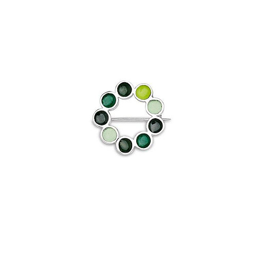 Enamelled silver Encircled brooch in various opaque green enamels