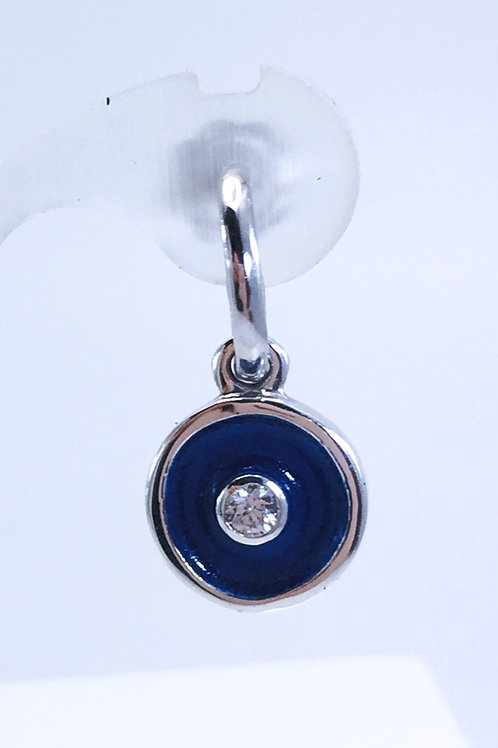 Close up of Silver birthstone earring charms with windsor blue enamel & white diamonds