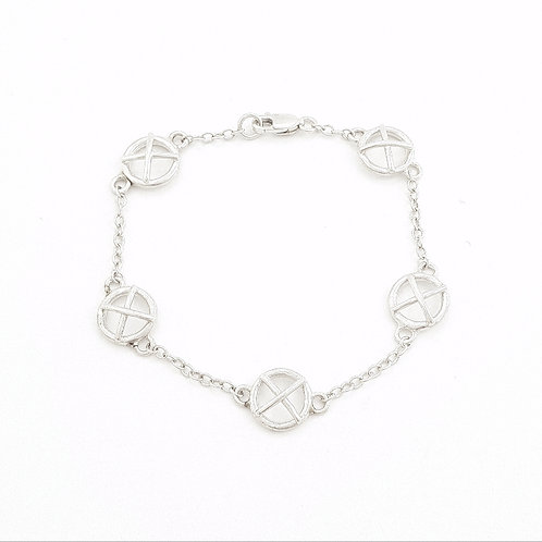 Large silver Kiss Hug bracelet x5