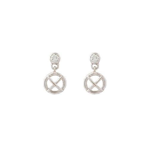 Silver and diamond kiss hug drop earrings