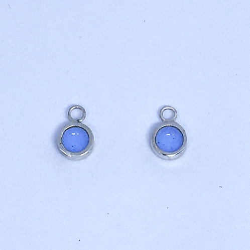 Silver & light blue enamel dot interchangeable earring charms