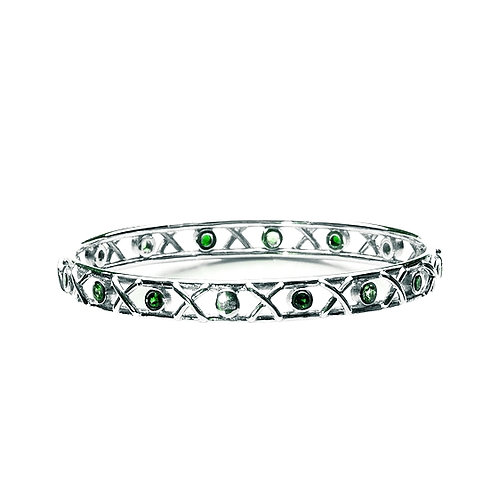 Sterling silver Kiss Hug bangle set with emeralds
