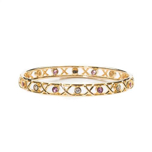 9ct yellow gold Kiss Hug bangle with diamonds and pink sapphires