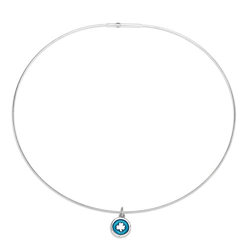 Enamelled turquoise silver shamrock charm on silver cable