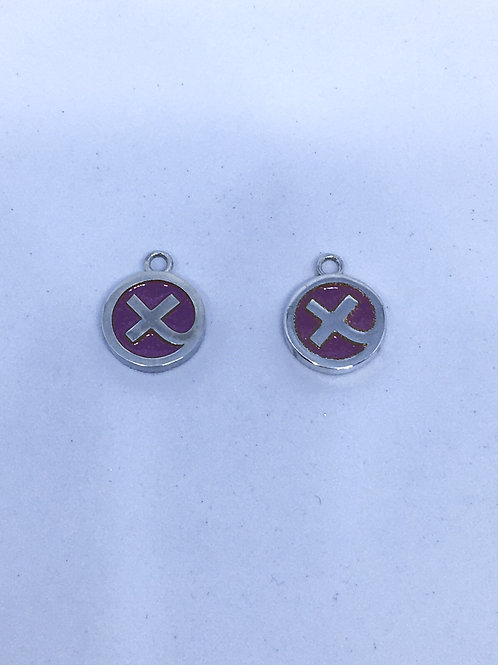 Silver & bright pink Kiss in a hug earring charms