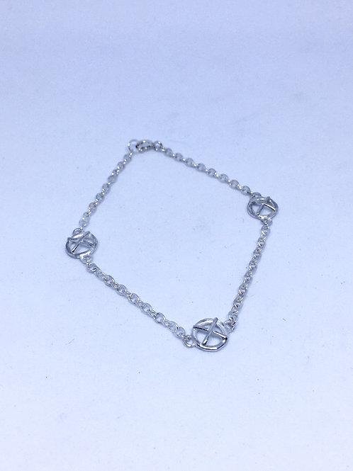 Small Kiss Hug silver bracelet x3