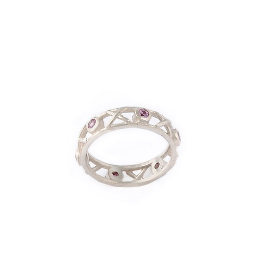Sterling silver fine Kiss Hug ring set with round pink sapphires
