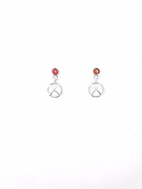 Silver and ruby kiss hug drop earrings