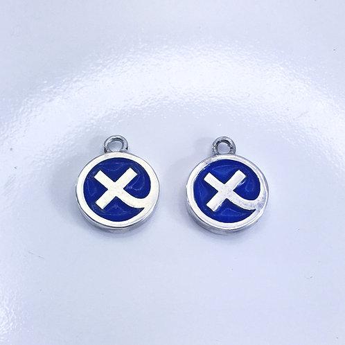 Silver & blue enamelled Kiss in a Hug interchangable charms on huggi hoop earrings