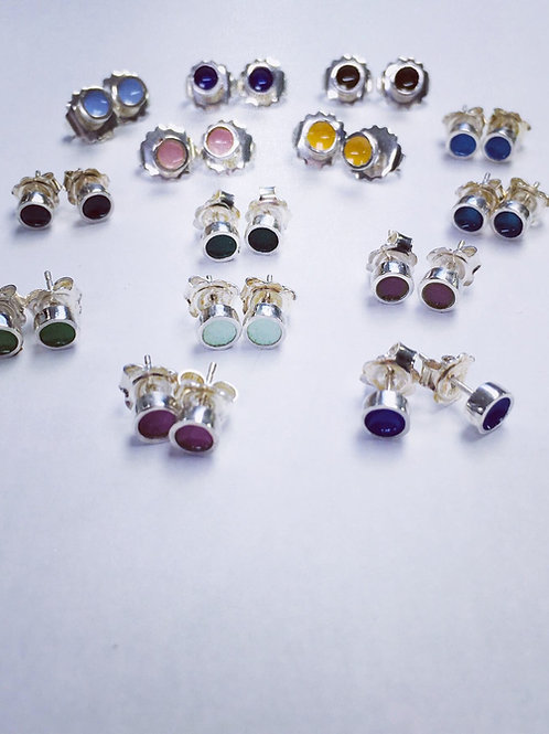 6mm Silver enamel stud earrings