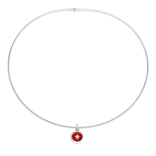 Enamelled red silver star charm on silver cable