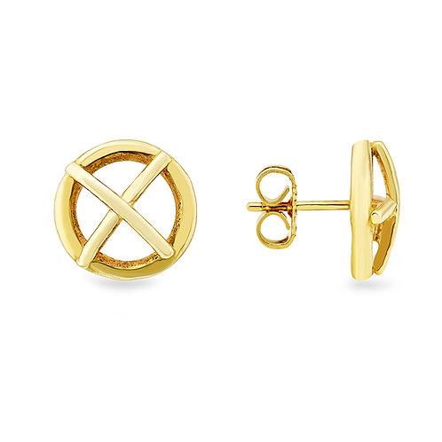 Large 9ct yellow gold Kiss Hug stud earrings
