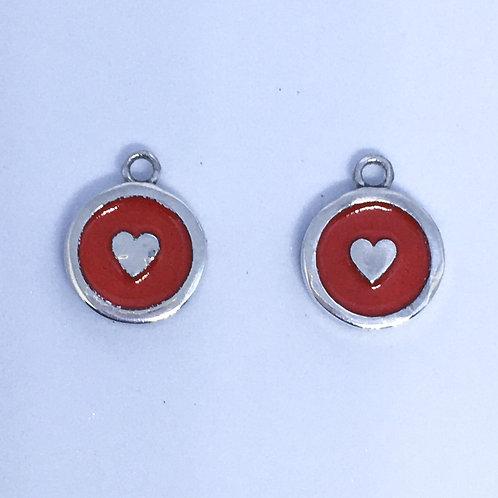 Silver & red enamel Heart interchangeable earring charms