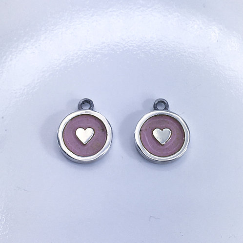 Silver and enamelled pink heart interchangable charm earrings