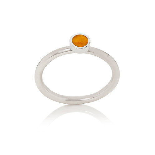 Enamelled silver dot stacking ring in apricot