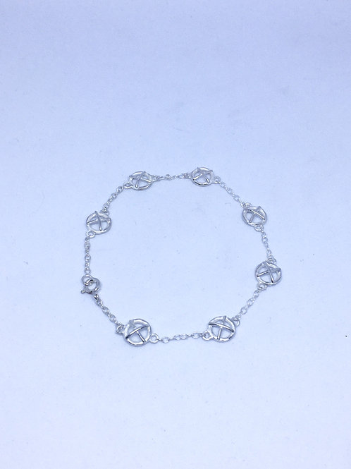 Small Kiss Hug silver bracelet x7
