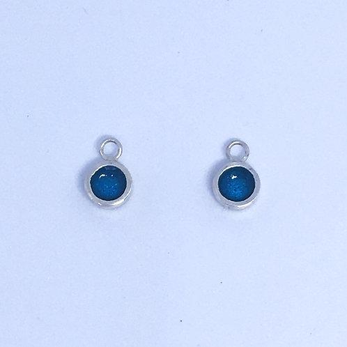 Silver & turquoise enamel dot interchangeable earring charms