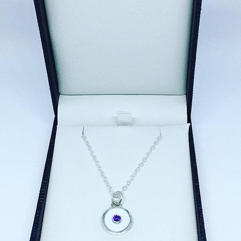 Birthstone pendant White enamel & amethyst