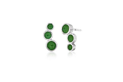Triple dot enamel stud earrings in mid green opaque vitreous enamel