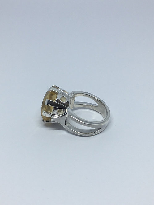 Side view of silver Leila ring with 14mm Round Citrine