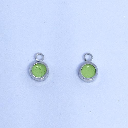 Silver & lime green enamel dot interchangeable earring charms