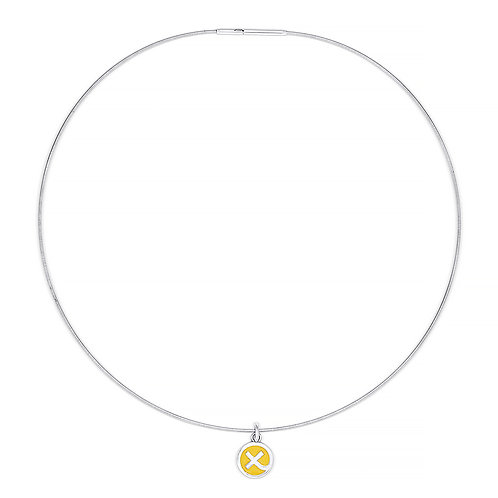 Silver & sunflower yellow 'Kiss in a Hug' charm on cable