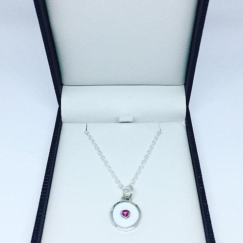 Rhodolite Garnet on white enamel birthstone pendant